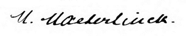 メーテルリンクの署名。Wikipediaより