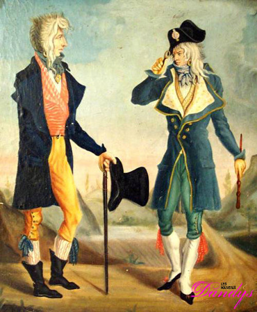 Les deux incroyables: Muscadins or Incroyables wore extravagant costumes in reaction against the recent Reign of Terror, by Carle Vernet, c. 1797 Muscadins.jpg