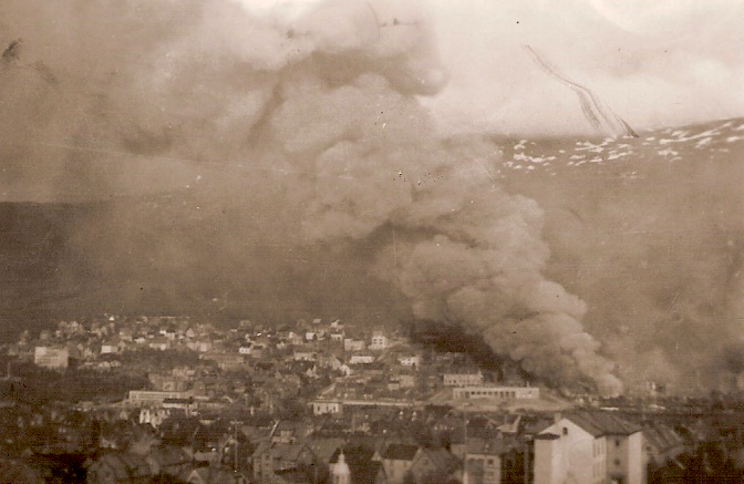 Narvik blazes after German terror bombing