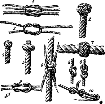 Some knots: 1. Splice 2. Manrope knot 3. Granny knot 4. Rosebud stopper knot(?) 5. Matthew Walker's knot 6. Shroud knot 7. Turks head knot 8. Overhand knot, Figure-of-eight knot 9. Reef knot or Square knot 10. Two half hitches (see round turn and two half hitches)