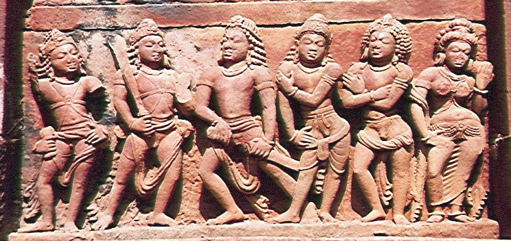 Pandavas with Draupadi OR ayudhapurushas facing Madhu Kaitabha.jpg