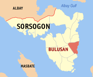 Map of Sorsogon showing the location of Bulusan
