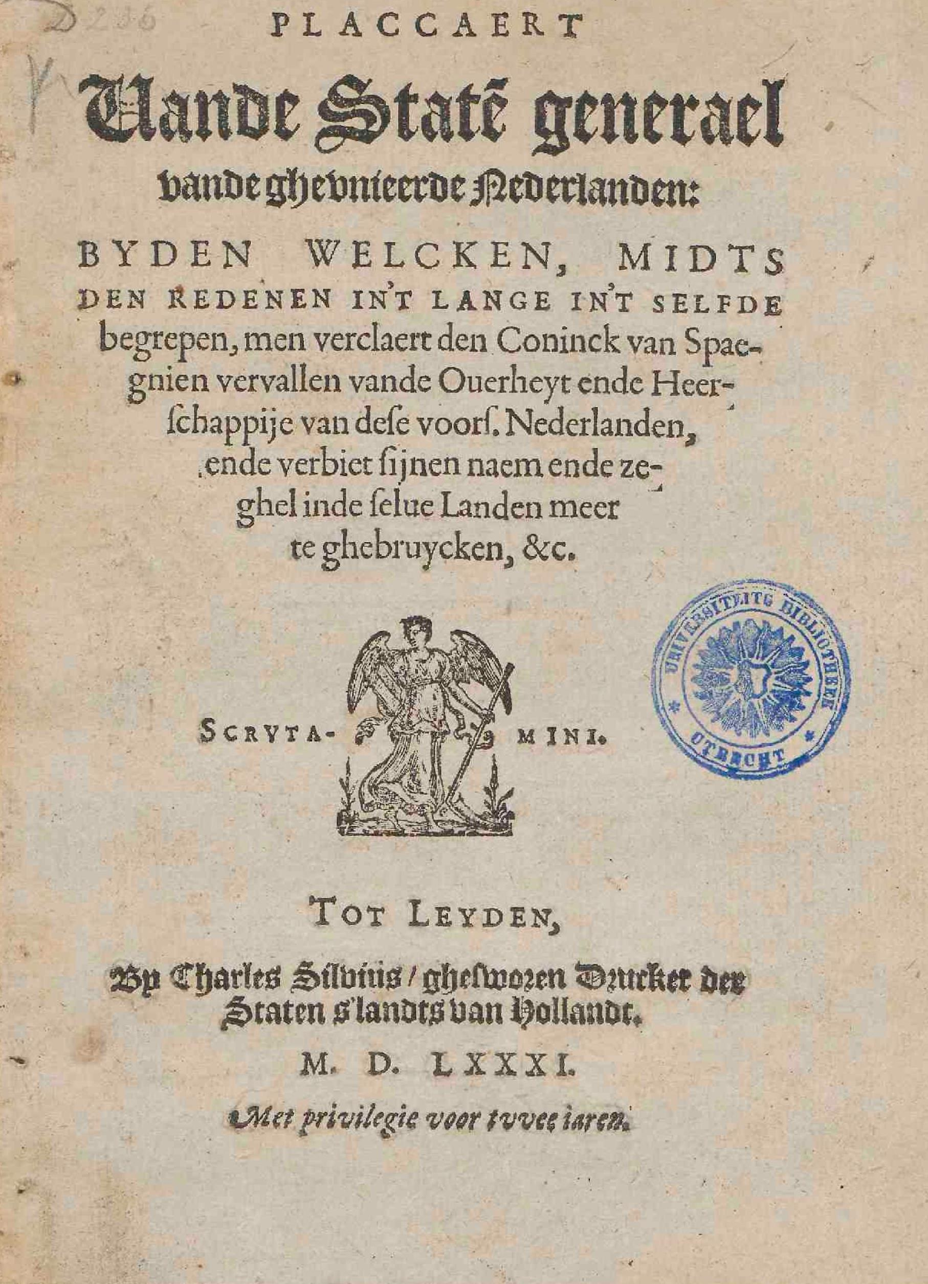 File:Plakkaat van Verlatinghe, 1581 titelpagina.jpg