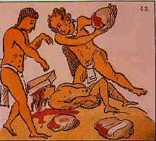 An Aztec adulterer being stoned to death; Florentine Codex Sacrificio azteca.jpg