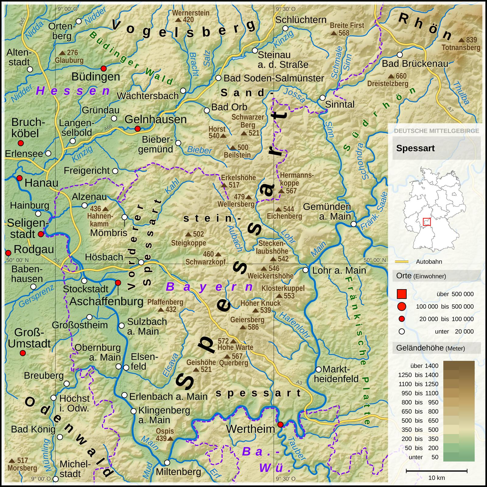 Mittelgebirge Deutschland Karte.Datei Spessart Deutsche Mittelgebirge Serie A De Png Wikipedia
