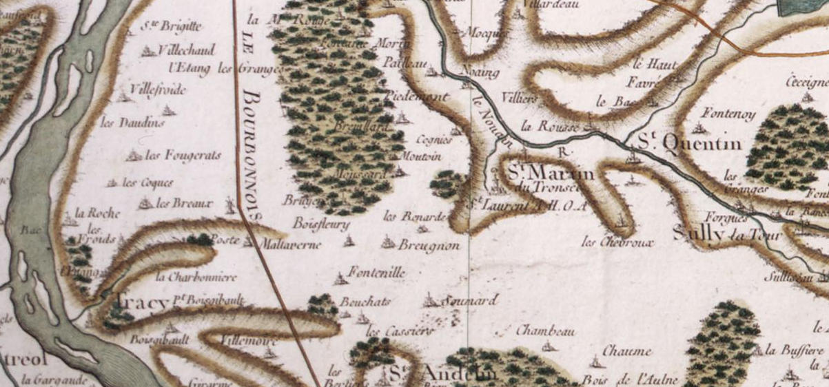 "18th century Cassini map of France, detail, in the present Nièvre departement, Burgundy. Centered on Saint-Laurent abbey (fr) located here just beside Saint-Martin-du-Tronsec, some 6 mi (~10 km) S-E of Cosne-sur-Loire (just beyond the upper left corner of the picture). The Loire river runs near the left margin of the map, south-north direction, so we are mainly looking at the right bank of the river. The ""road (from Paris) to Lyon through the Bourbonnais"" is in between the abbey and the port, about 3 mi (4,6 km) away. Other towns and villages: Saint-Quentin (Saint-Quentin-sur-Nohain) and Suilly-la-Tour (East), Saint-Andelain (South), Tracy (S-W) and part of the name of Ménétréol (Ménétréol-sous-Sancerre) facing Tracy on the left bank of the Loire. Tracy, small port on the Loire river, is some 4.4 mi (7 km) west to the abbey."