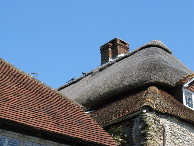 File:Straw pheasants on thatched roof in Amberley village - geograph.org.uk - 1335642.jpg