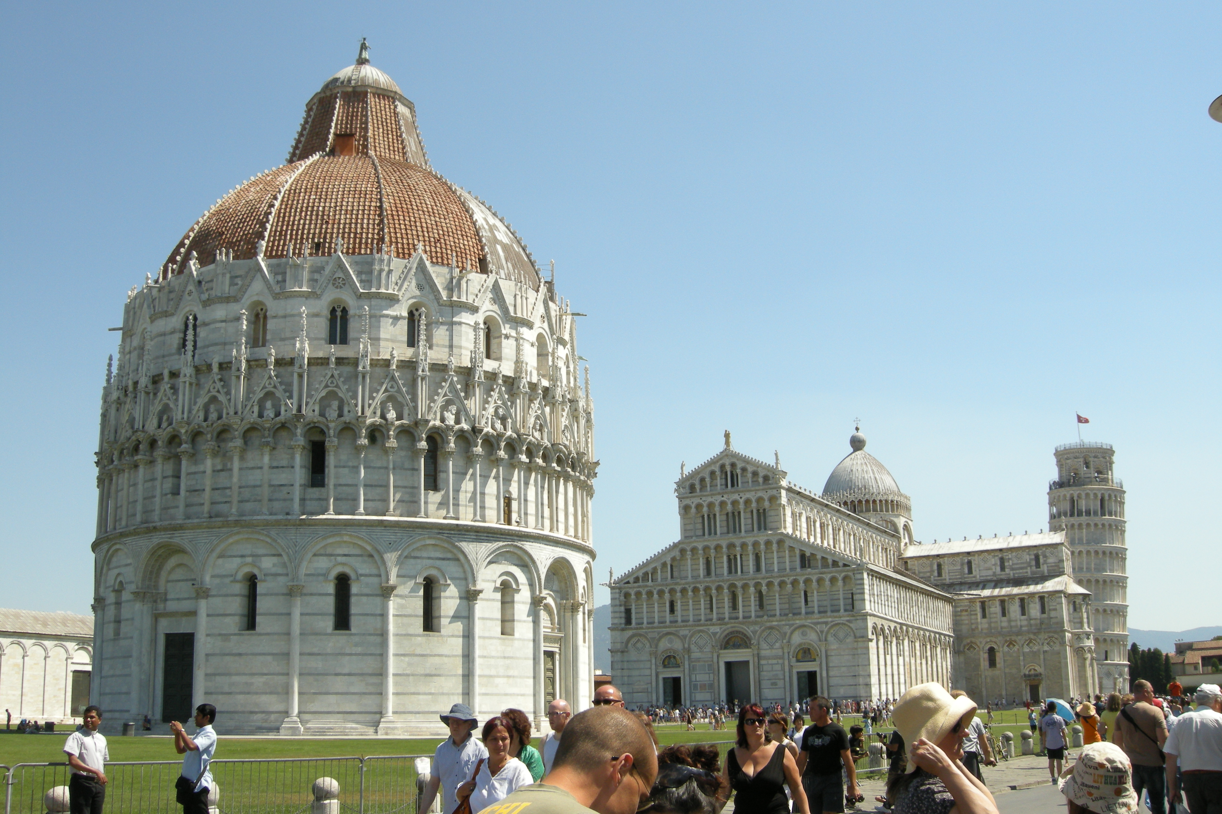 File The Baptistry Pisa Cathedral And The Leaning Tower