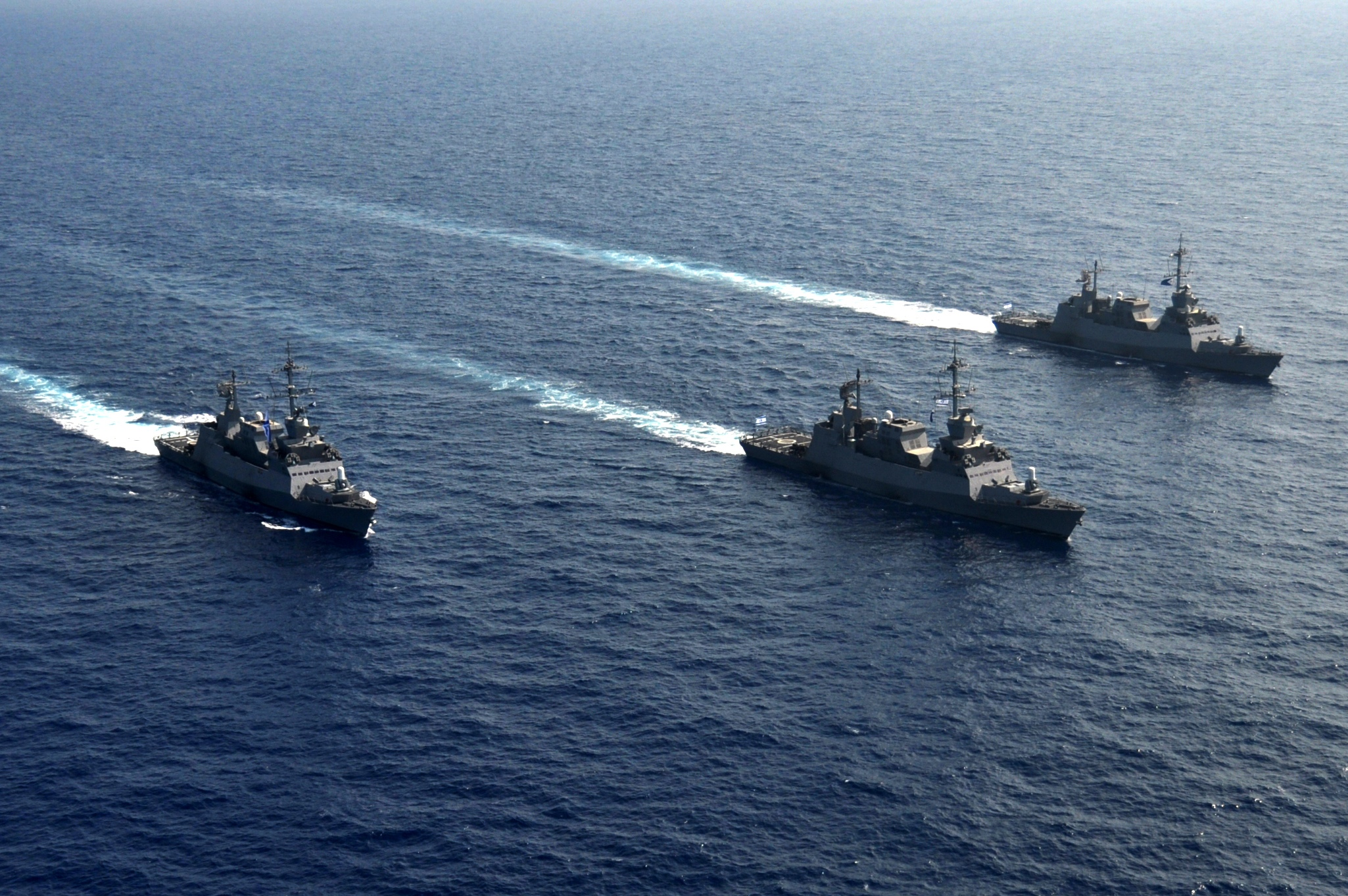 File:Three Sa'ar 5 Class Missile Corvettes Going For a Cruise.jpg - Wikimedia Commons