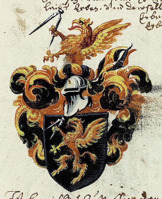 A coat of arms featuring griffins.