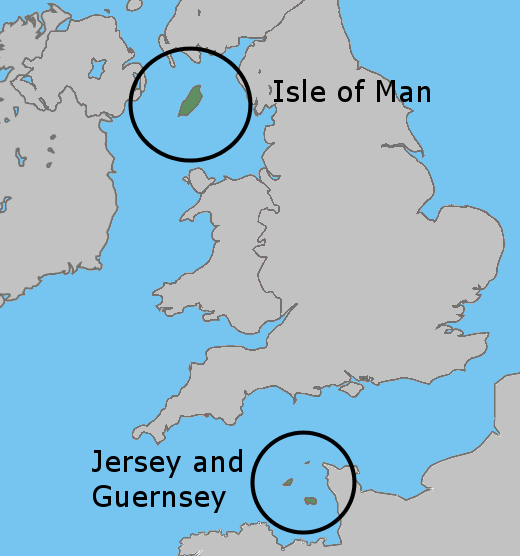 UK map crown dependencies