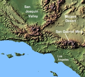 Lage der San Gabriel Mountains in Kalifornien