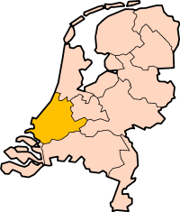 Map: Provincie Zuid-Holland in Nederland
