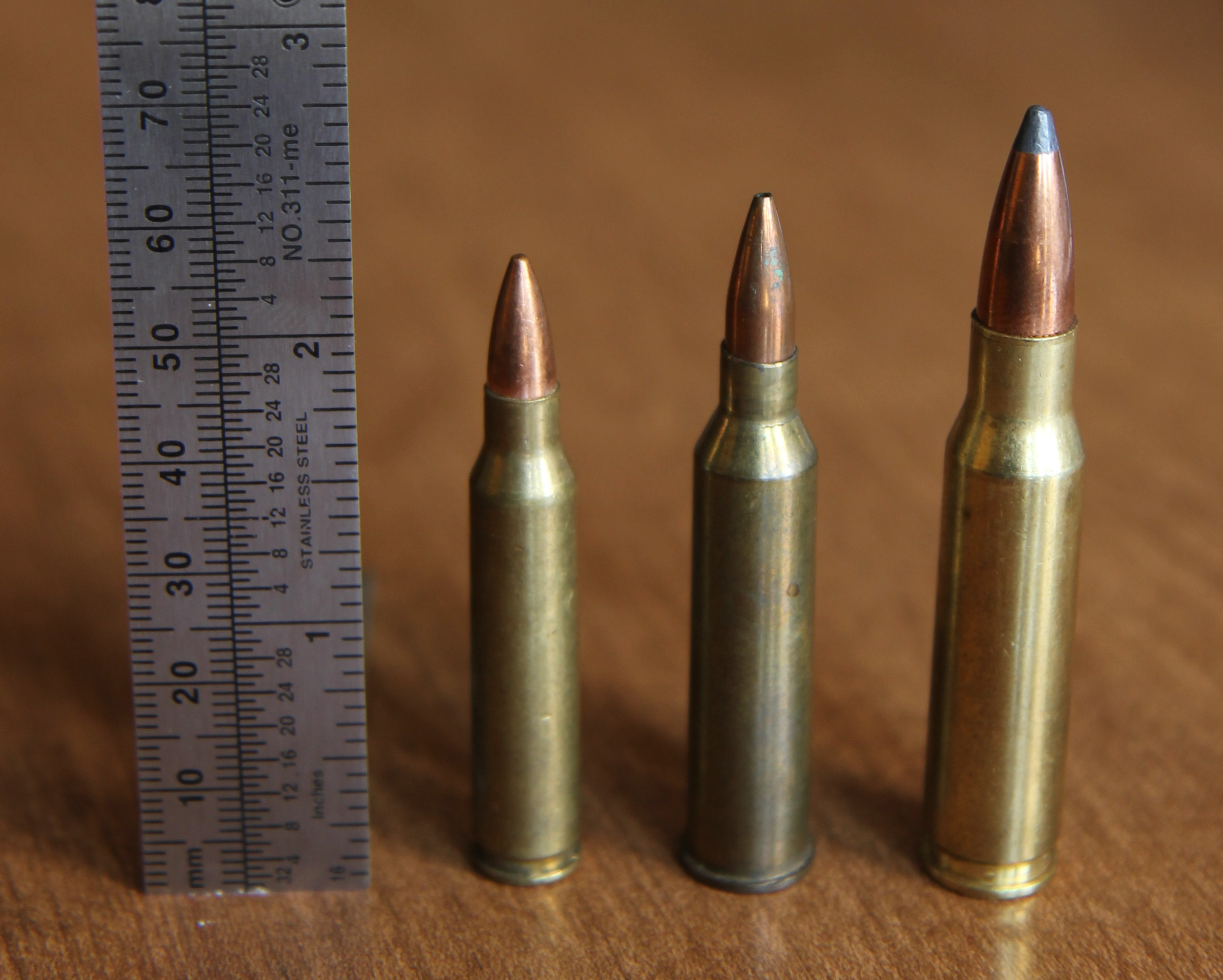 File:.225 Winchester with .223 Rem and .308 Win.JPG