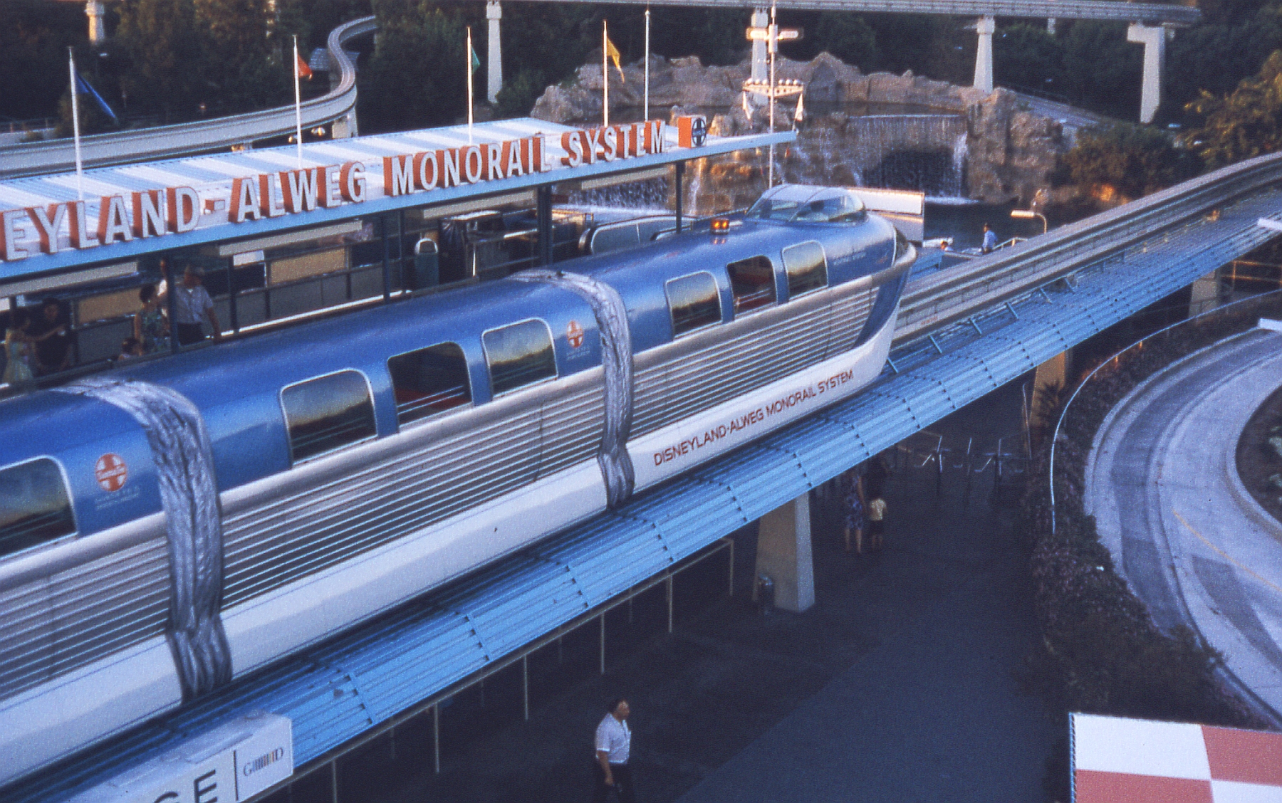 The blue Mark II ALWEG Monorail train. Seen at the Disneyland Park station, in August, 1963