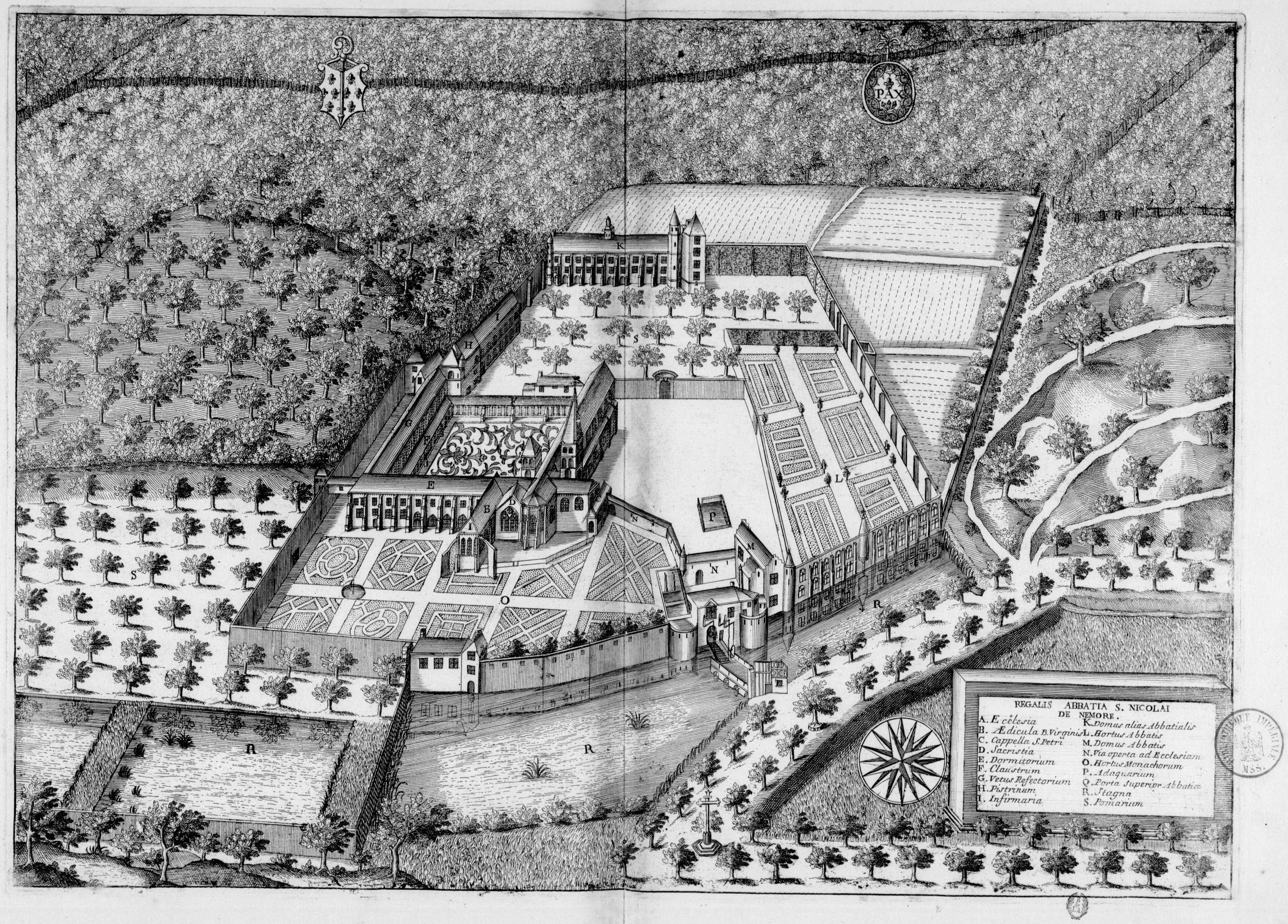 Fichier:Abbaye de Saint-Nicolas-aux-Bois dans Monasticon Gallicanum.jpg