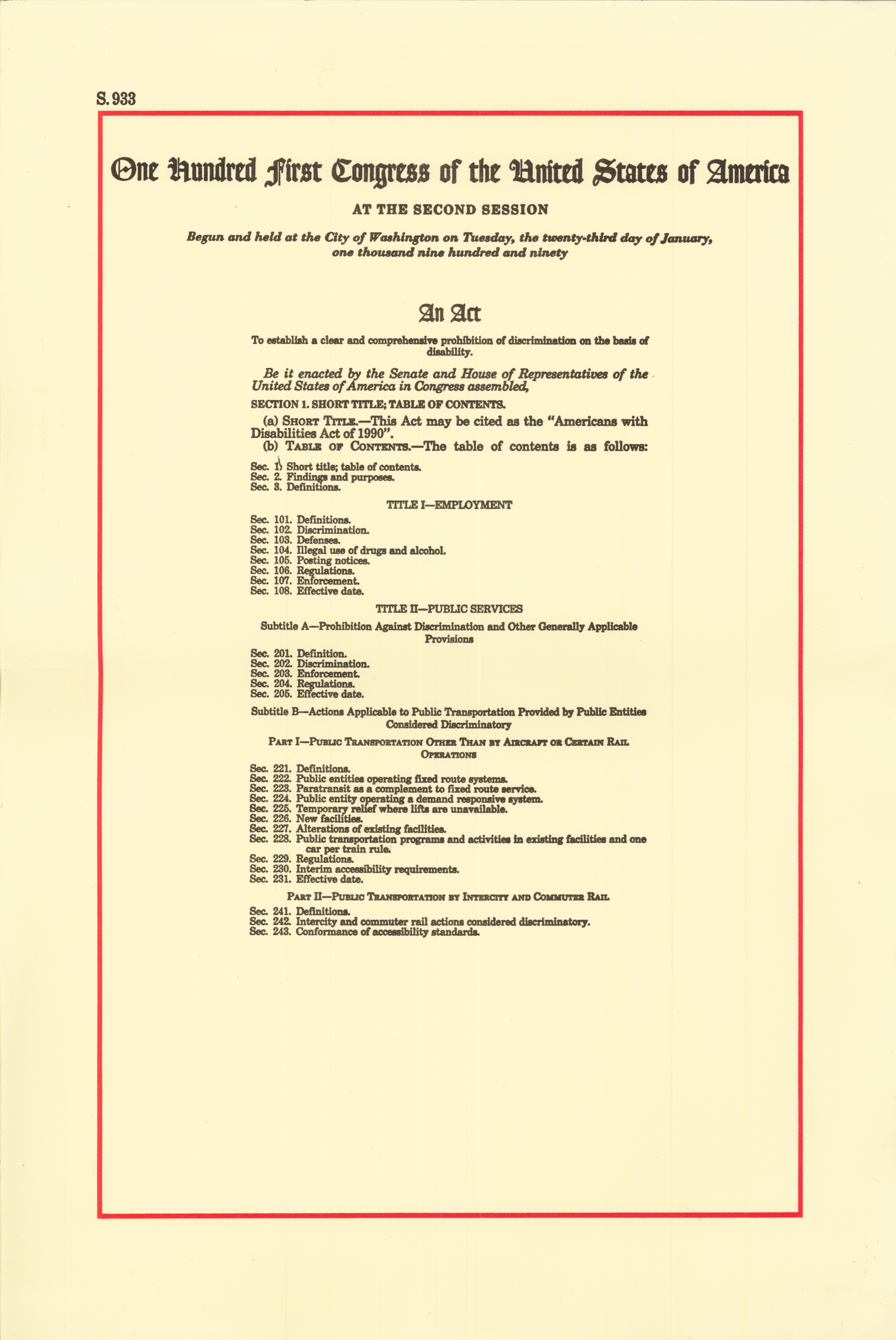 file:americans with disabilities act of 1990, page 1 - wikimedia