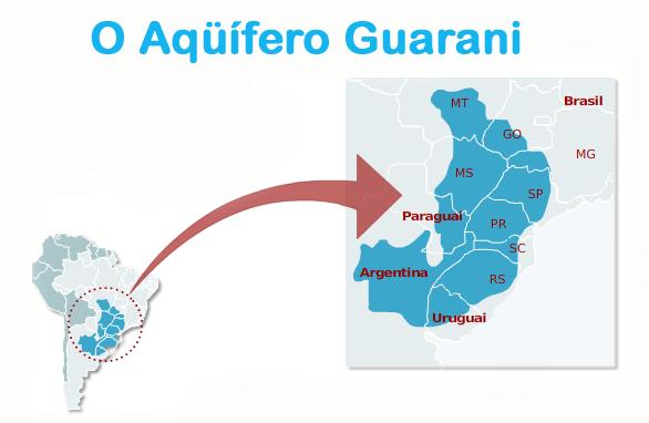 Em azul, a localização do aquífero, destacando os estados brasileiros que abrange