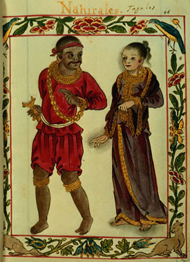 An elaborate border frames a full length illustration one would associate with a manuscript of a man and woman. The dark-skinned man dressed in red tunic, breeches, and bandanna and wearing a gold chain is looking pleasantly over his shoulder in the direction of the fair woman who, garbed in a dark gold-fringed dress that covers the length of her body except her bare feet, has the faintest hints of a smile.