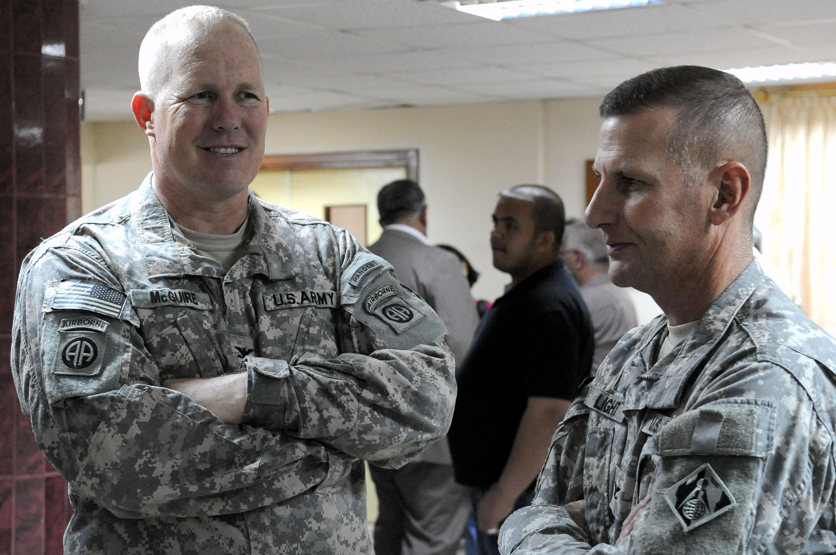 Ceremony for renovations to the Alwaiya Maternity Hospital in Muhallah 902 DVIDS174265.jpg English: U.S. Army Col. Timothy McGuire (left)