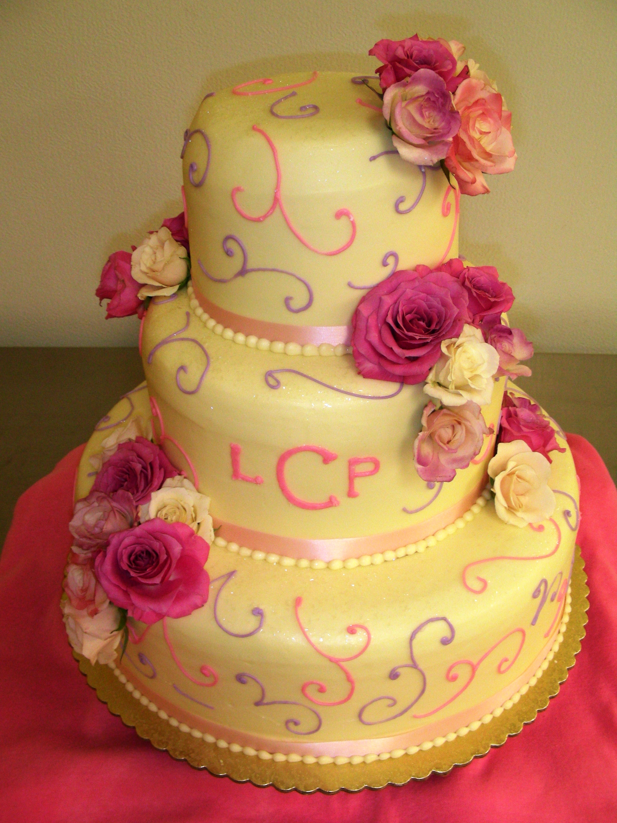 File:Colorful three tiered wedding cake LCP.jpg - Wikimedia Commons