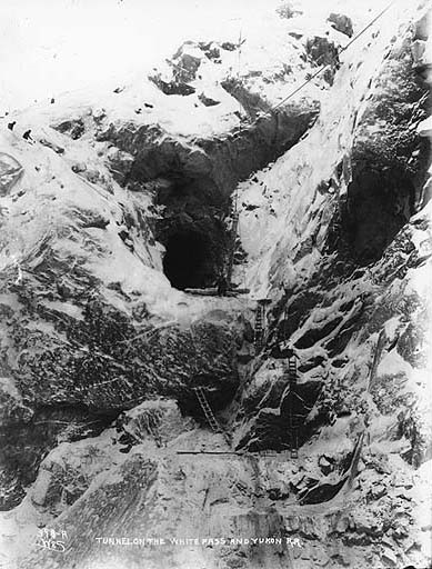 File:Construction of the only tunnel on the White Pass and Yukon Railroad, Tunnel Mountain, Alaska, ca 1899 (HEGG 72).jpeg