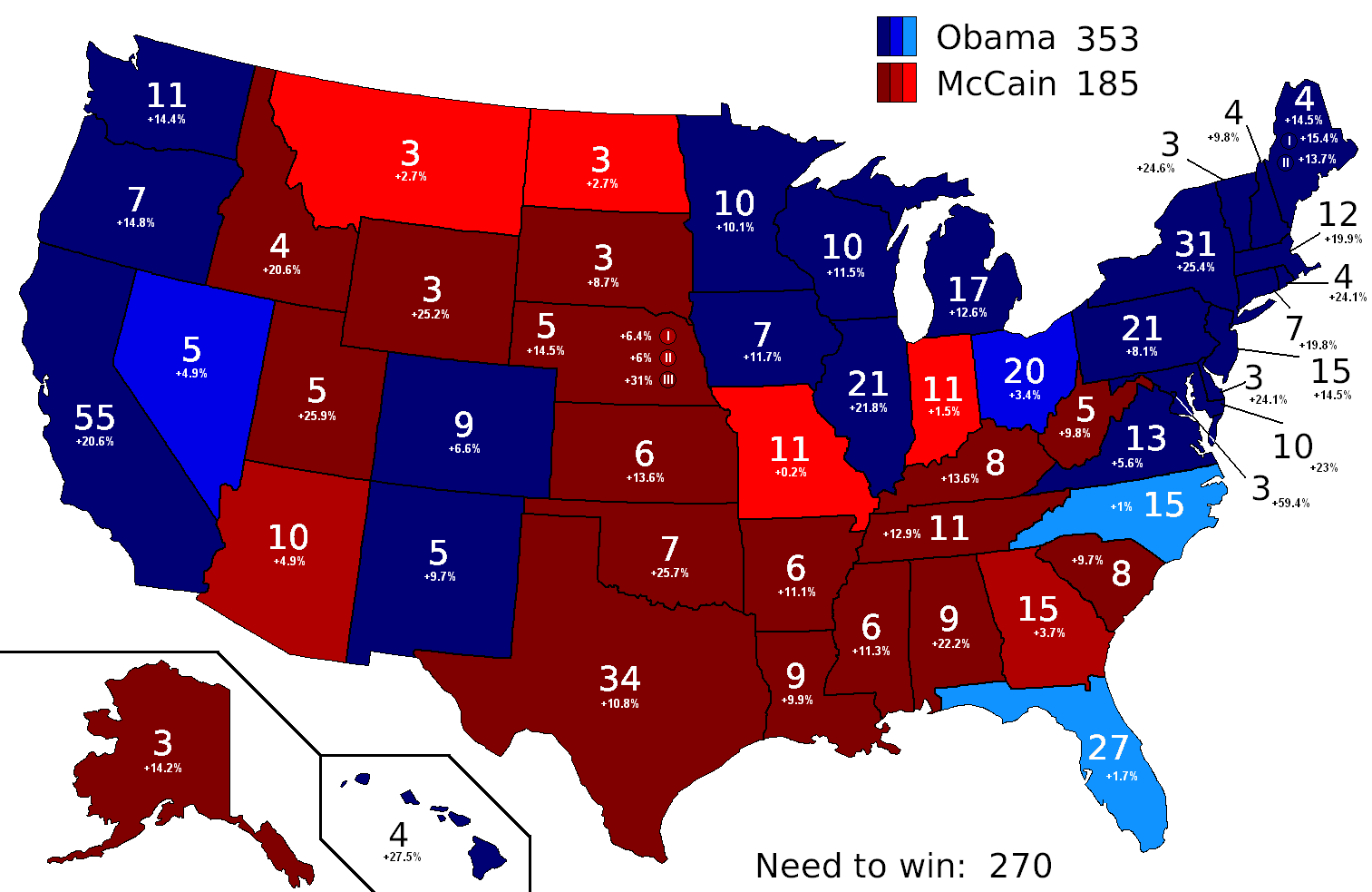 2008 Presidential Election projections by Nate Silver on election night (Nov 4, 2008)
