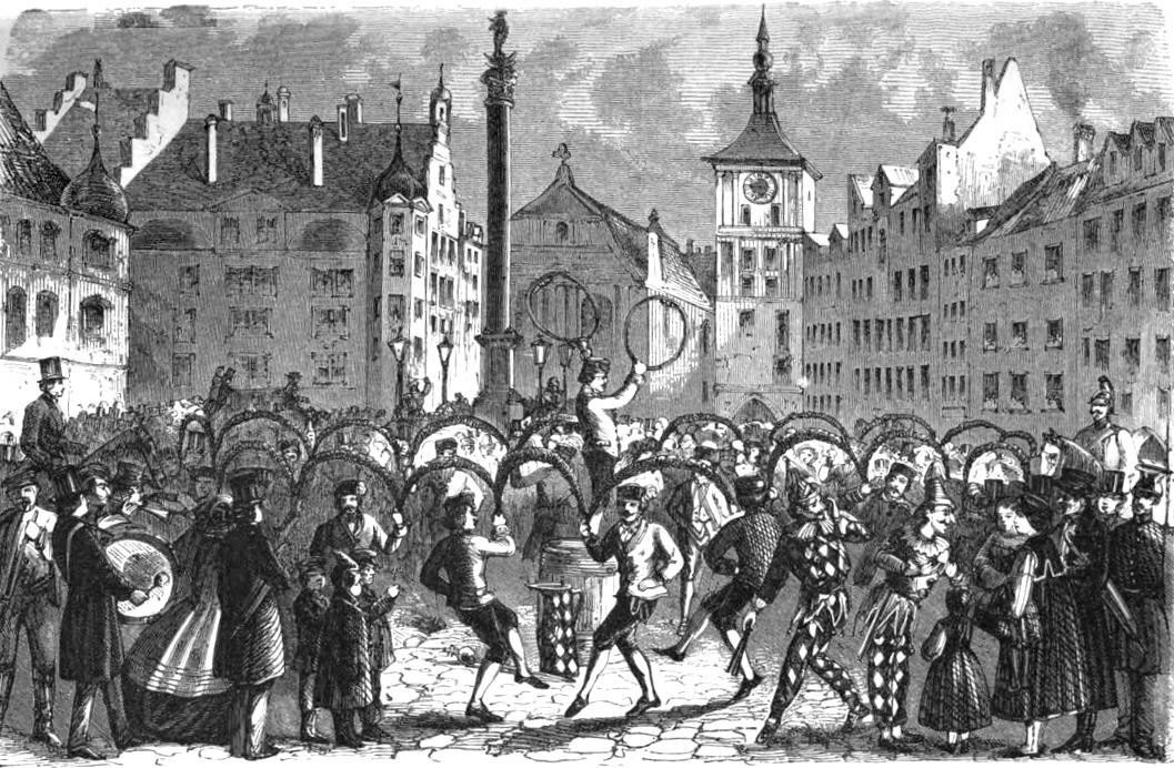 Schäfflertanz in München, 1863 per Wikimedia