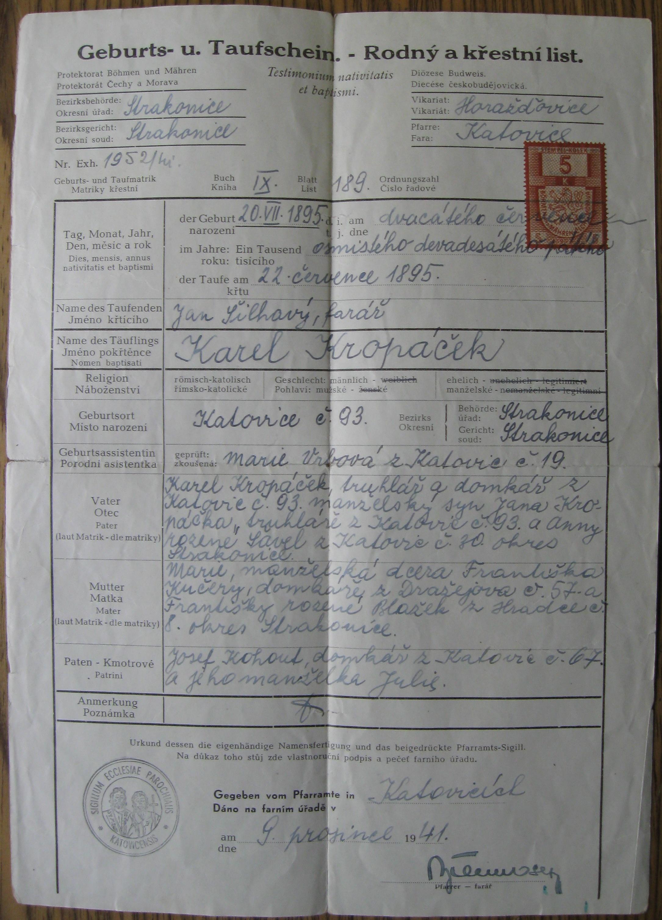 File:Falesny Rodny List Karel Prokop Alias Karel Kropacek jpg