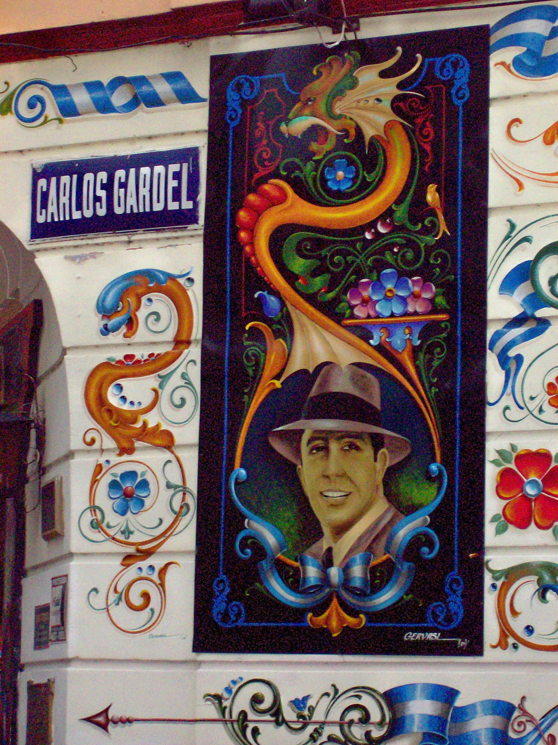 Pasaje Carlos Gardel, en el barrio del Abasto (Buenos Aires). Se trata de un sector de la antigua calle Guardia Vieja, en el que, en 1911, se encontraron por primera vez Carlos Gardel y José Razzano.