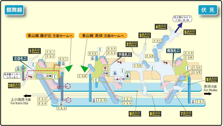 Nagoya Subway Map Pdf.File Fushimi Station Map Nagoya Subway S Tsurumai Line 2014 Png