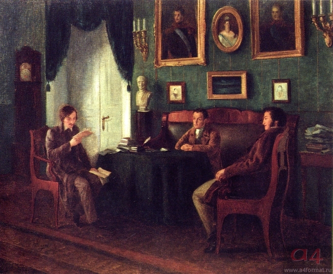 Gogol and Zhukovsky at Pushkin's in Tsarskoe selo by P. Geller (1910).jpg