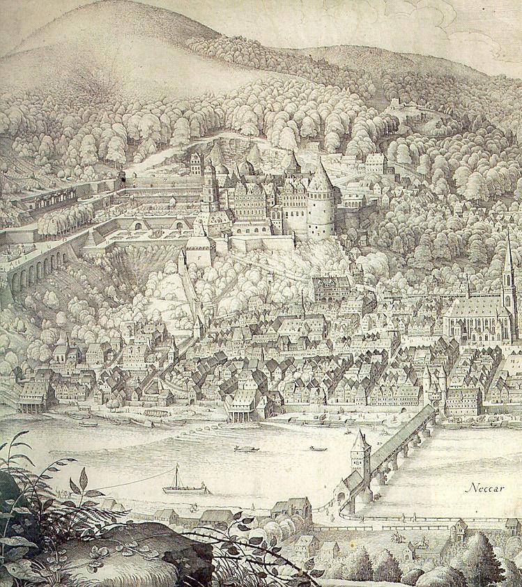 Heidelberger Schloss Neckar Alte Bruecke Heilgigeistkirche von Matthaeus Merian (Ausschnitt).jpg