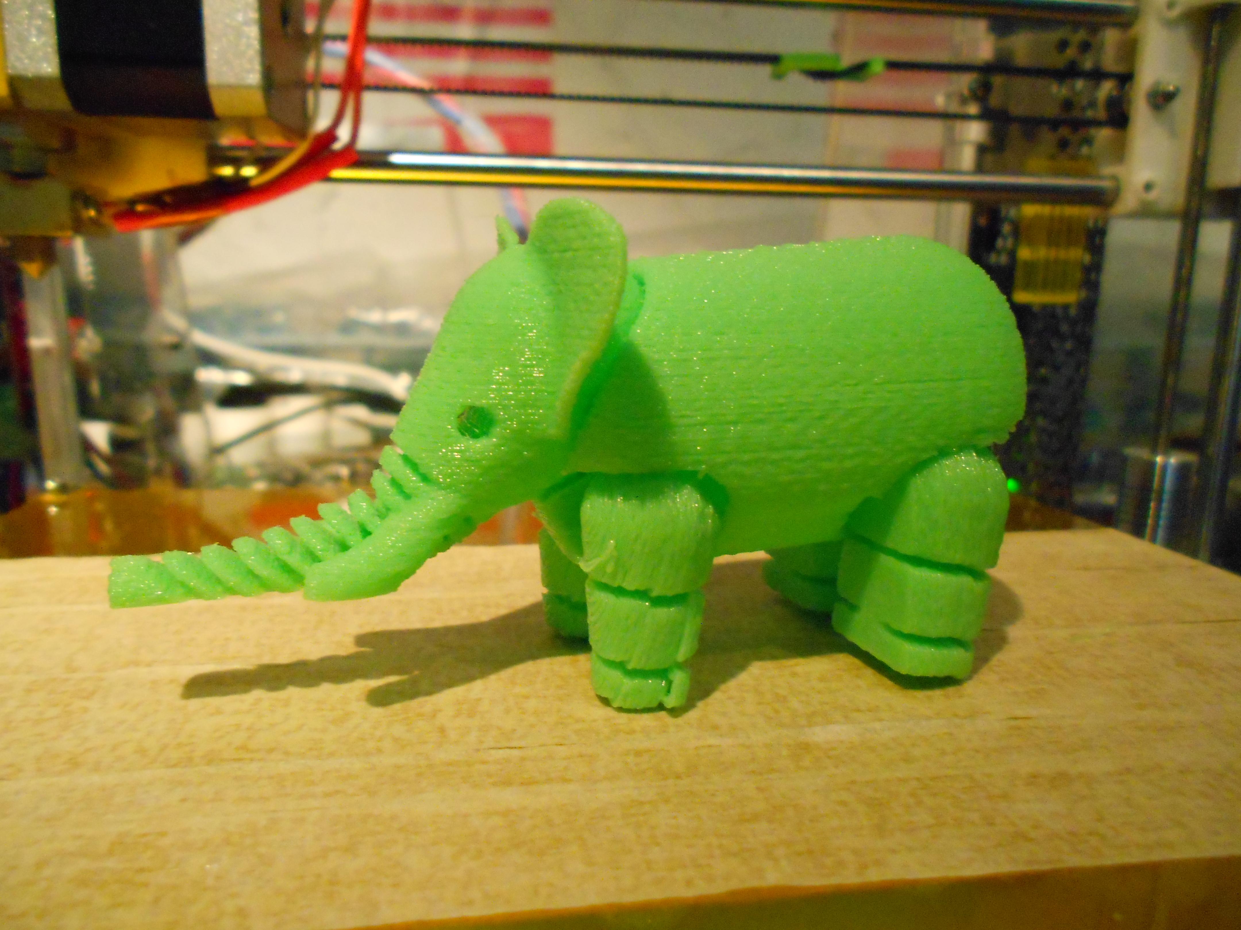 3D printed Elephant.  Image by C13m3n7
