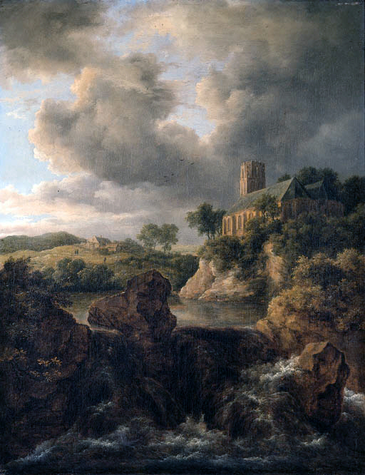 Mountainous landscape with a torrent and church