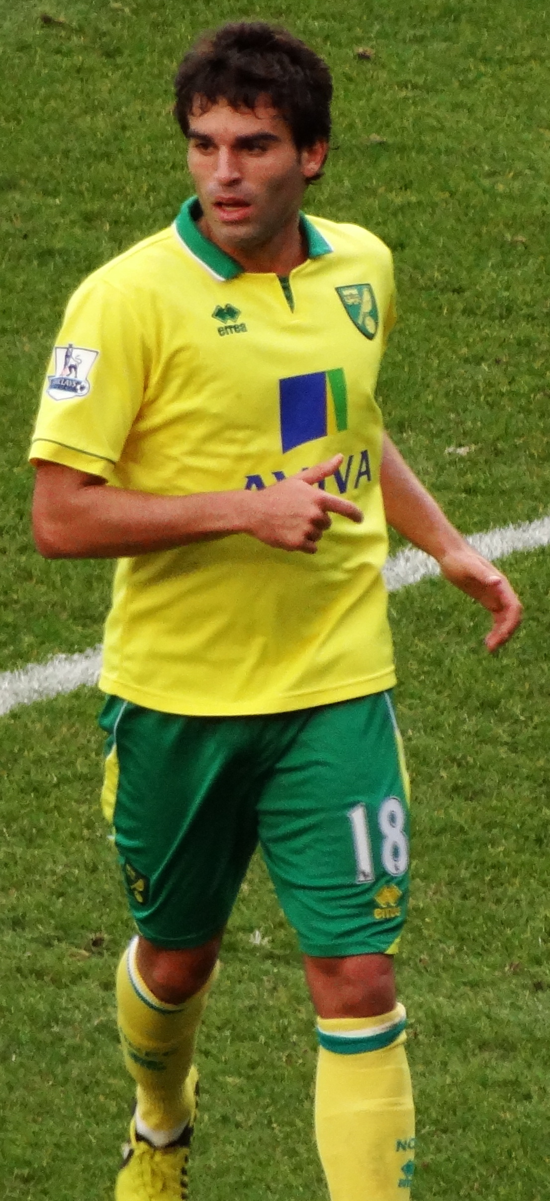 Garrido playing for [[Norwich City F.C.|Norwich City]] in 2012