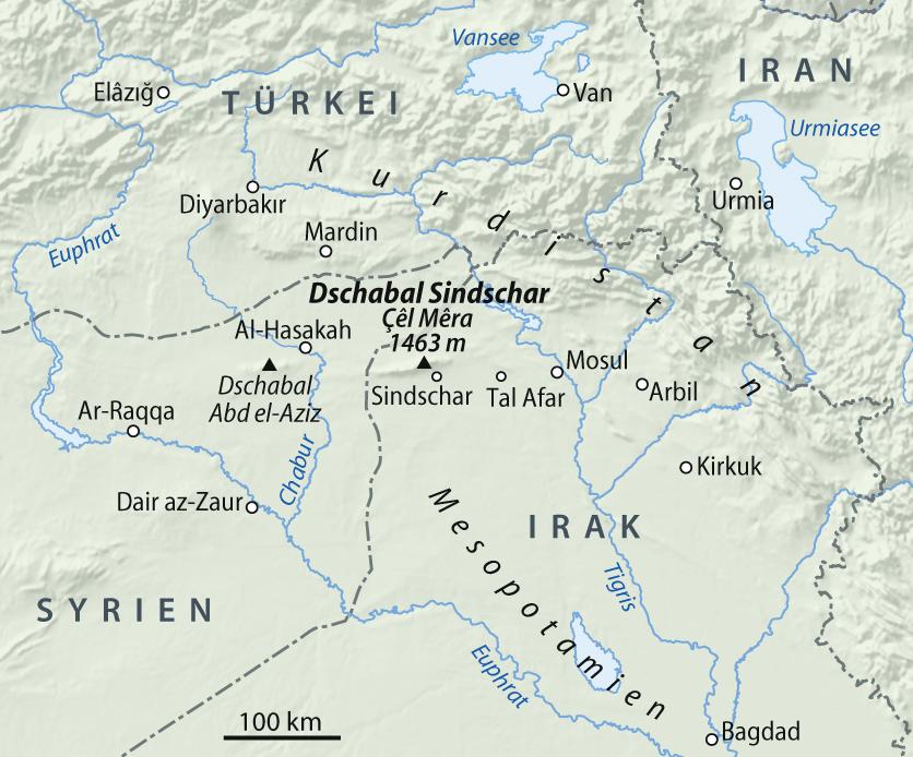 Lage des Sinjar Höhenzugs im Irak