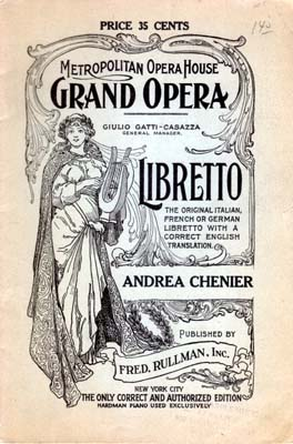 Cover of a 1921 libretto for Giordano's Andrea Chénier