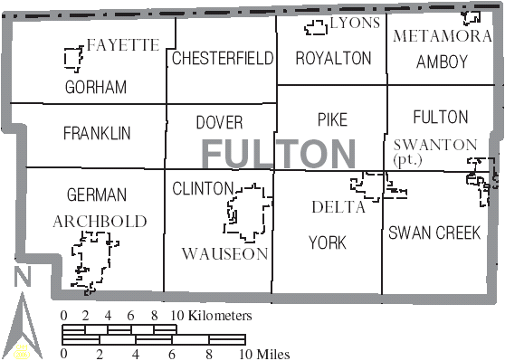 FileMap of Fulton County Ohio With Municipal and Township Labels