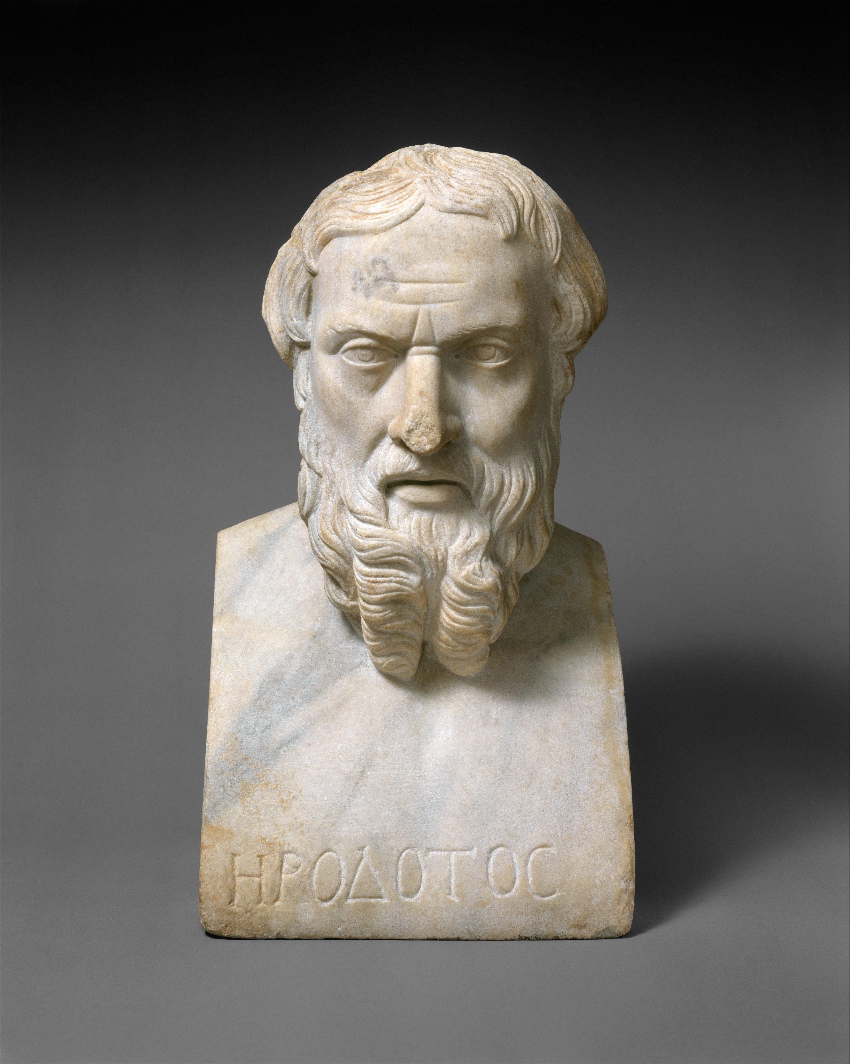 A Roman copy (2nd century AD) of a Greek [[Bust (sculpture)|bust]] of Herodotus from the first half of the 4th century BC