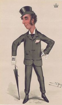 "1877 caricature of Queensberry in Vanity Fair. Caption reads: ""a good light weight""."