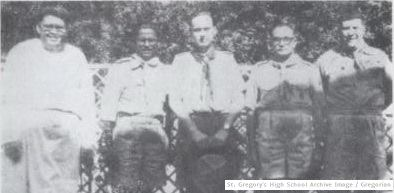 From left to right – Brother Peter C.S.C., Headmaster St. Gregory; Nicholas Rozario, Deputy Camp Chief (East Pakistan); J. S. Wilson, Director of International Bureau; Squadron Leader H.V. Bhatty, Scout Provincial Secretary and A.R. Sardar Hussain, Scout Camp Chief for Pakistan