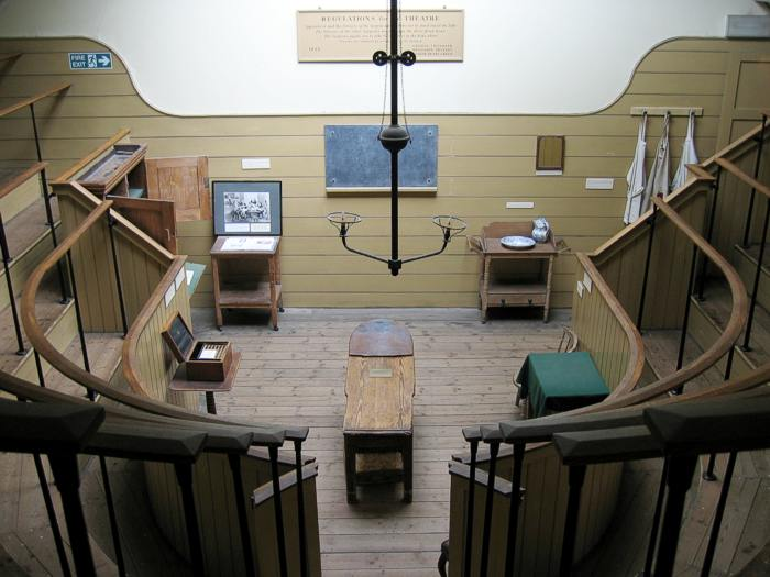 Image showing operating table and viewing galleries in the operating theatre
