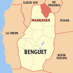 Map of Benguet showing the location of Mankayan