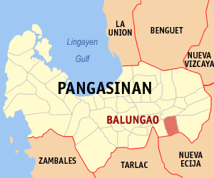 Map of Pangasinan showing the location of Balungao