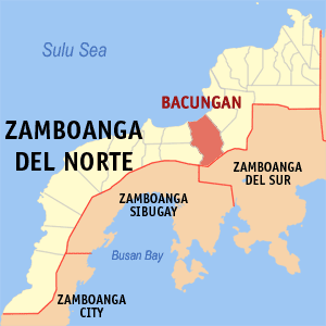 Map of Zamboanga del Norte showing the location of Bacungan