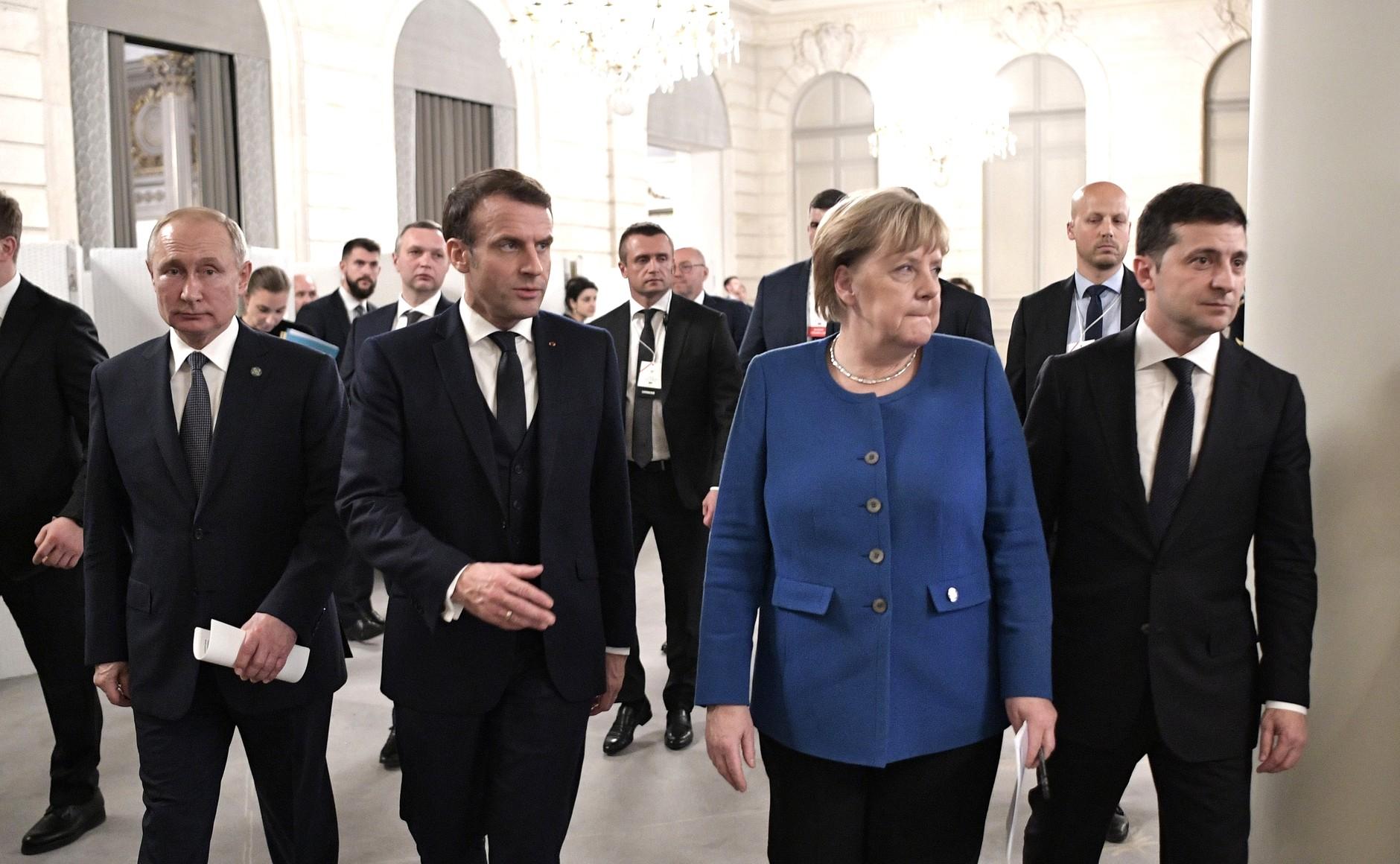L'incontro multilaterale tra il Presidente russo Putin, il Presidente francese Macron, la Cancelliera tedesca Merkel e il Presidente ucraino Zelensky, 12 ottobre 2019