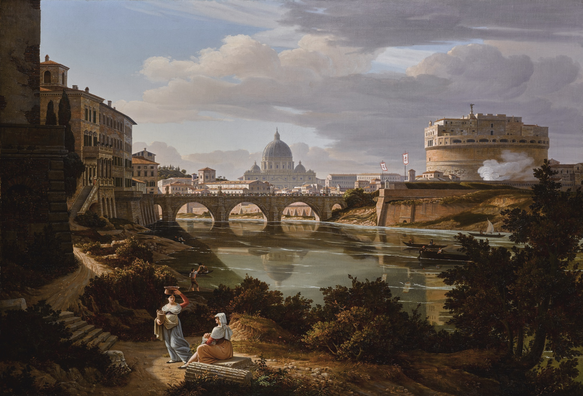 Rome, a view of the river Tiber looking south with the Castel Sant'Angelo and Saint Peter's Basilica beyond by Rudolf Wiegmann 1834