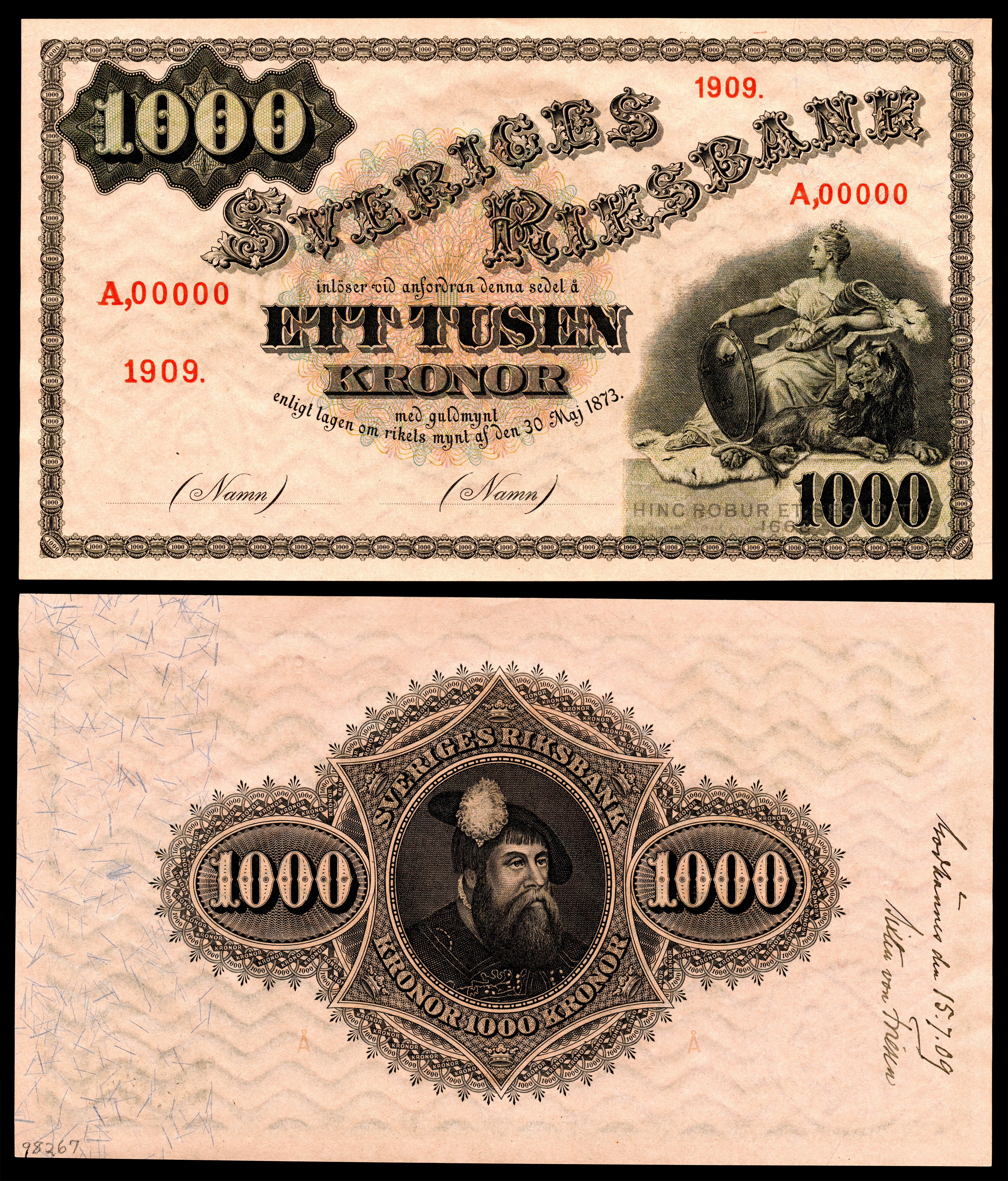 1909 Specimen With Roval On The Reverse Of A Sveriges Riksbank 1 000 Krona