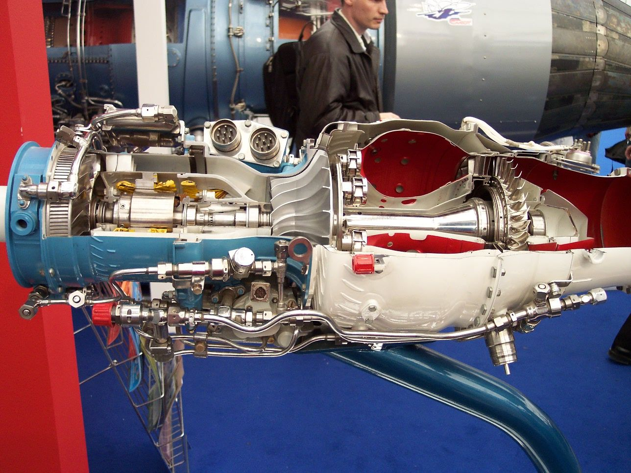 Jet Engine Cutaway Showing The Centrifugal Compressor And
